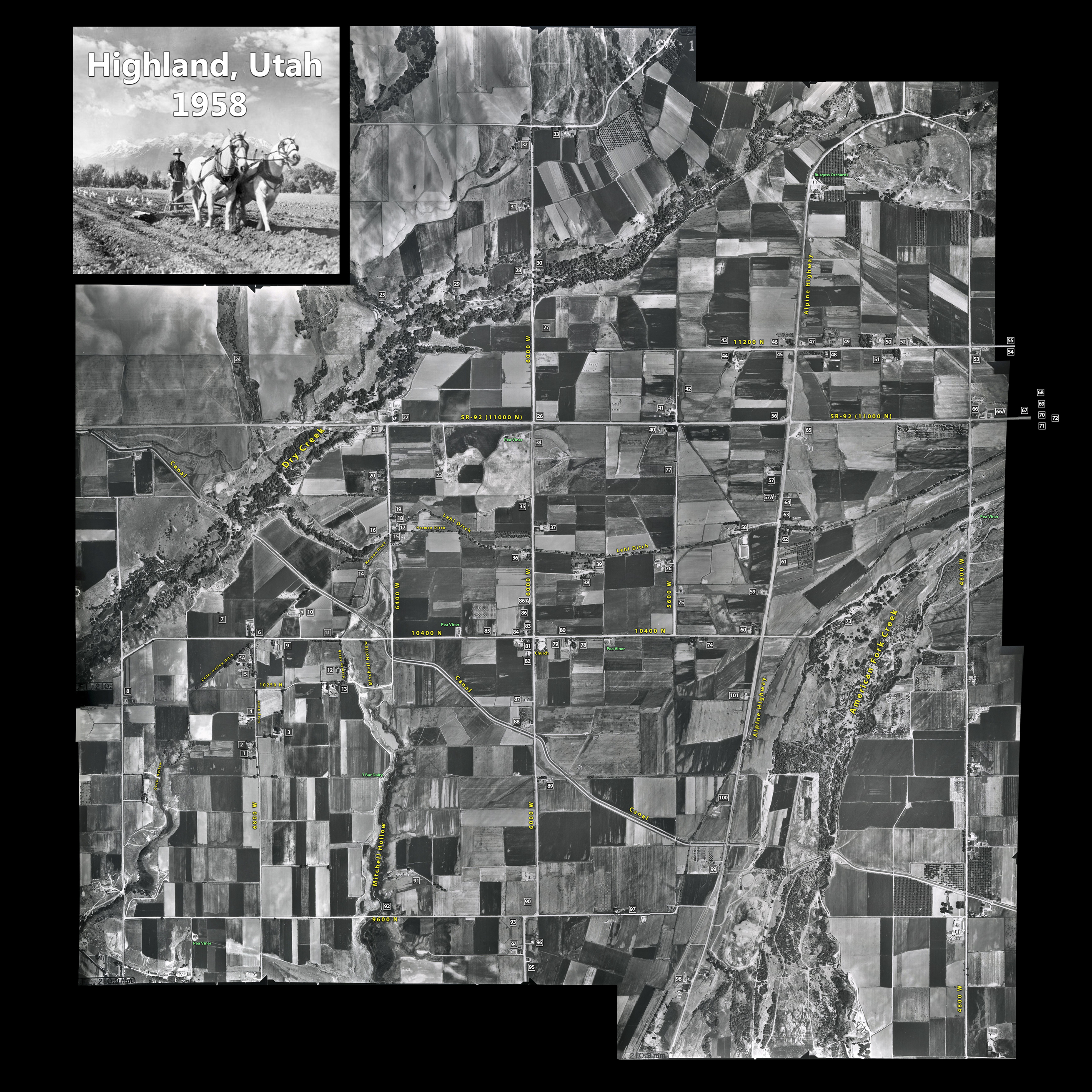 1958 Highland Aerial Map