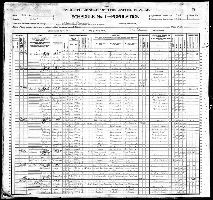 Highland 1900 U.S. Census page 1