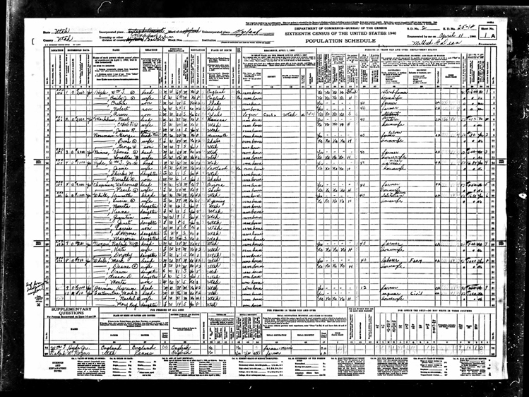 Highland 1940 U.S. Census page 1