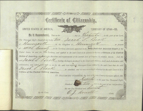 Jacob Beck Citizenship Certificate