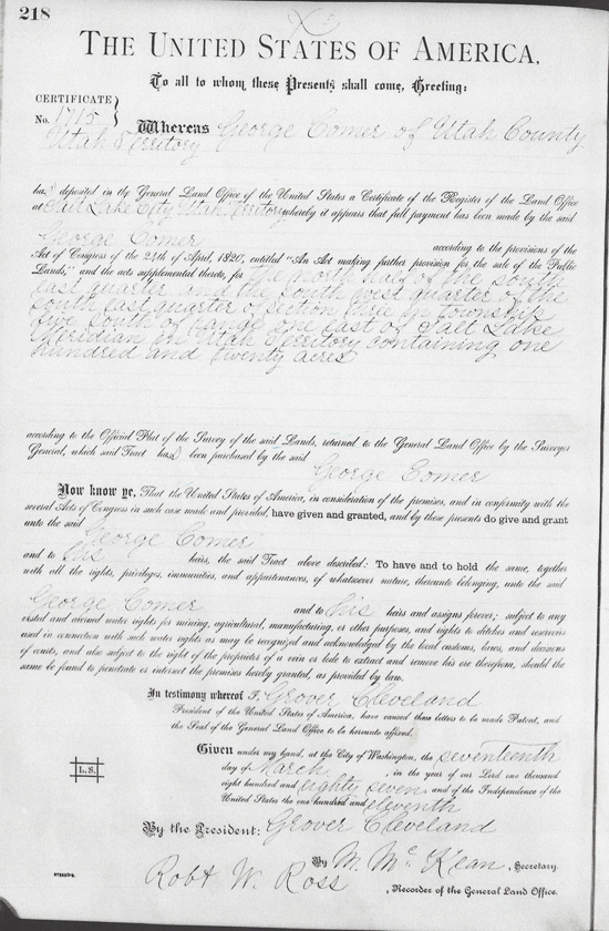 George Comer's Homestead Document