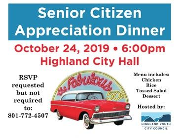 Flyer advertising senior citizen dinner with classic convertible