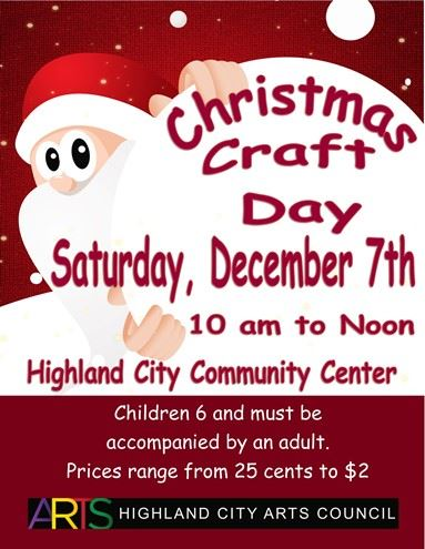 Advertisement with event details and Santa image for Christmas Craft Day