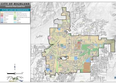 Highland City Land Use Map Showing Zoning by Color