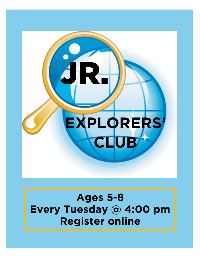 a magnifying glass over a globe with Explorers' Club on it.