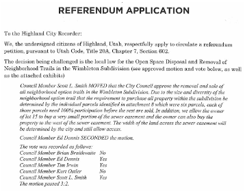 Screenshot of Referendum Application Document
