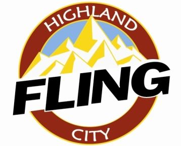 Highland Fling logo with mountainscape
