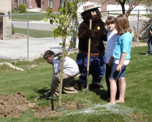 Smokey the Bear and children plant a tree